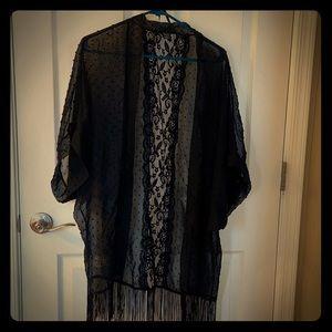*3/$18* Black Lace and Fringe Coverup